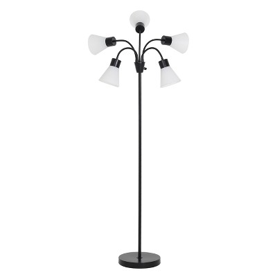 5 Head Floor Lamp White Shade with Black Frame - Room Essentials™