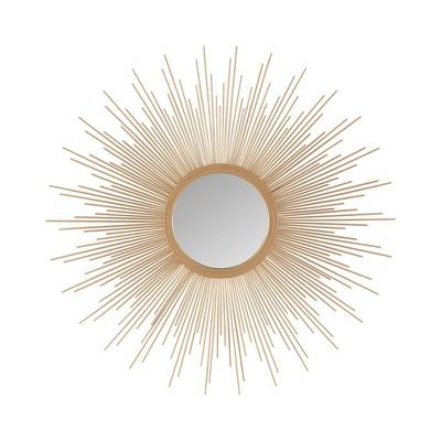 """29.5"""" Dia Fiore Sunburst Round Decorative Wall Mirror Gold"""
