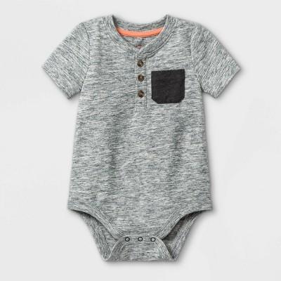 Baby Boys' Henley Bodysuit with Pocket - Cat & Jack™ Gray Newborn