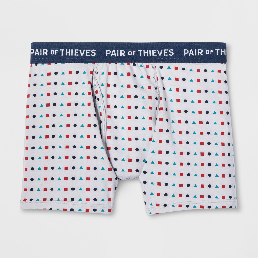 Pair of Thieves Men's SS Geometry Boxer Briefs - Gray XL, Red Blue