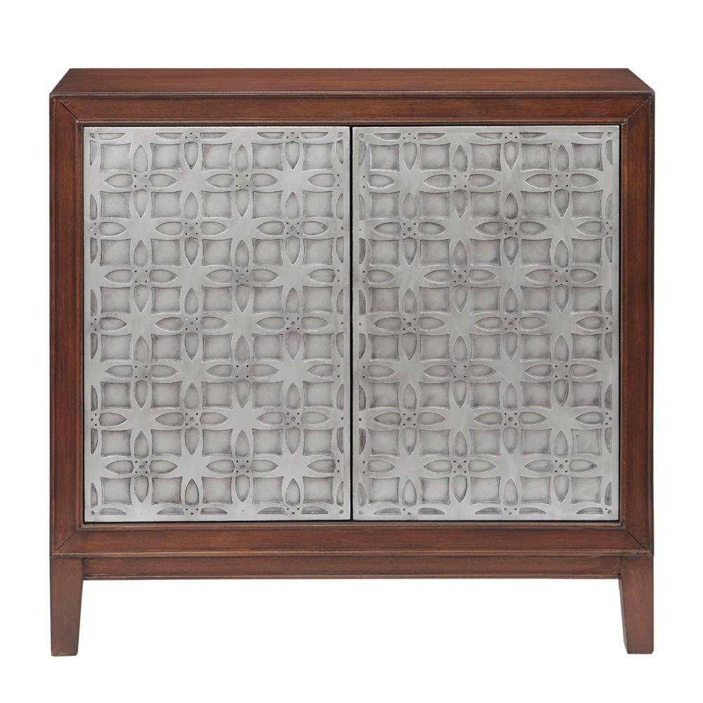 Victor 2 Door Cabinet Brown/Antique Silver