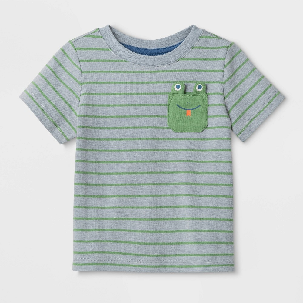 Image of Baby Boys' Frog Pocket T-Shirt - Cat & Jack Green 0-3M, Boy's, Gray