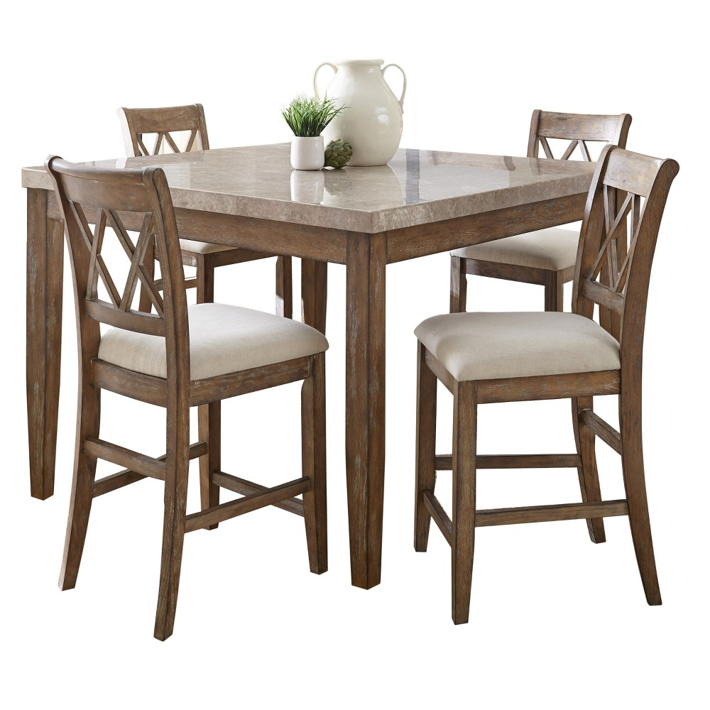 5Pc Fran Counter Height Dining Set Weathered Gray - Steve Silver, Driftwood Brown