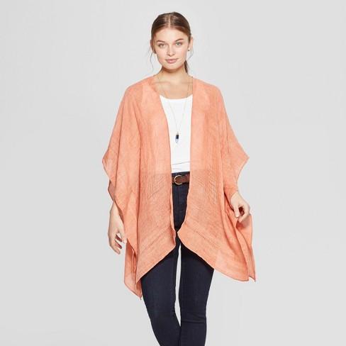 0a6a1b7df42 Women's Woven Kimono Jacket Ruana - Universal Thread™ Orange One Size