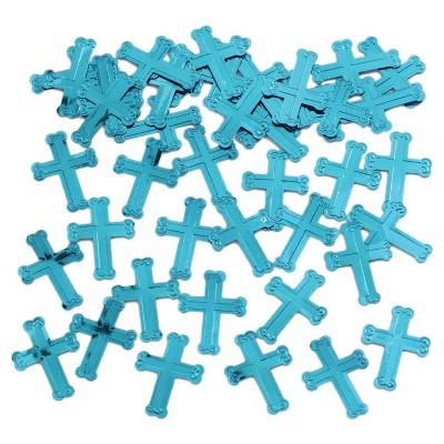 Embossed Blue Cross Confetti