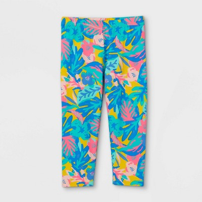 Girls' Tropical Capri Leggings - Cat & Jack™ Light Mustard