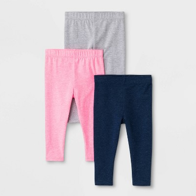 Baby Girls' 3pk Leggings - Cat & Jack™ Navy/Gray/Pink 12M