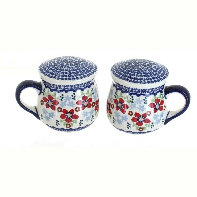Blue Rose Polish Pottery Red Poppy Salt & Pepper Shakers with Handles