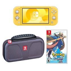 Nintendo Switch Lite Yellow with Pokemon: Sword & Deluxe Travel Case Bundle