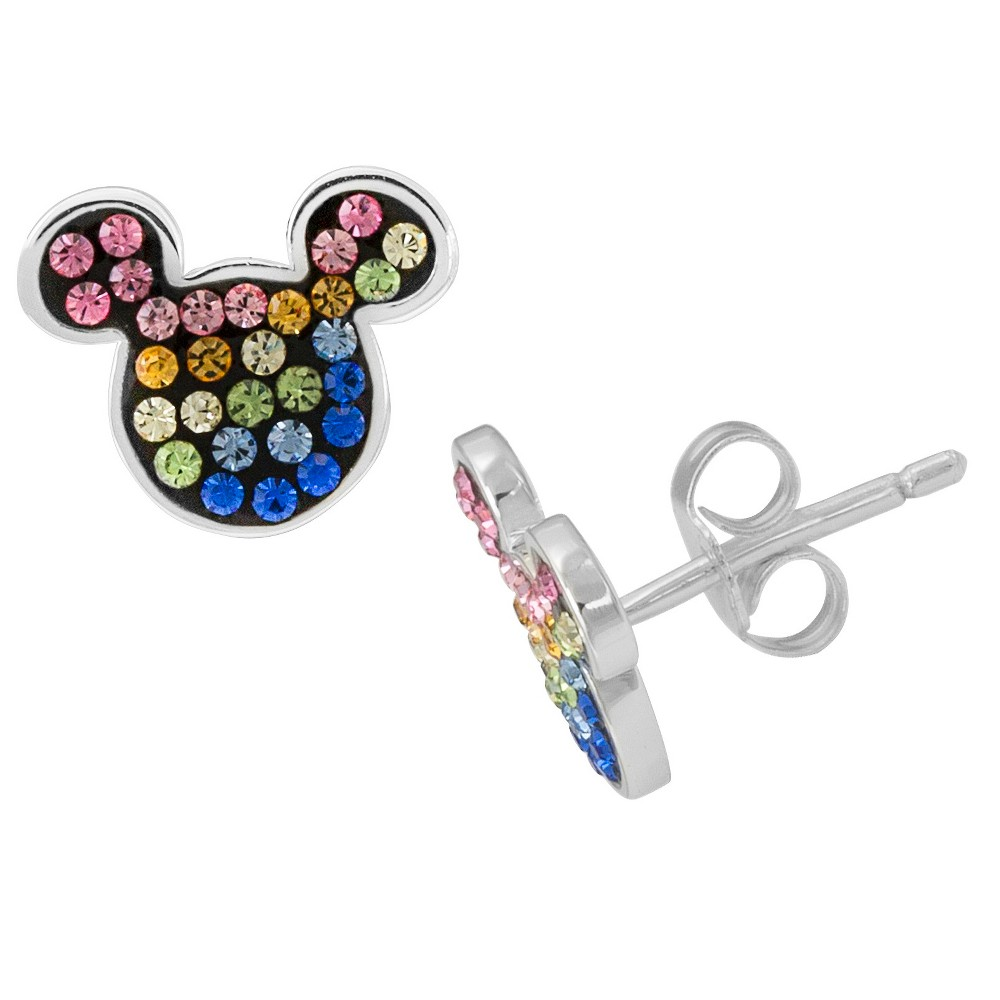 Girls' Disney Mickey Mouse Rainbow Stud Earring, Silver