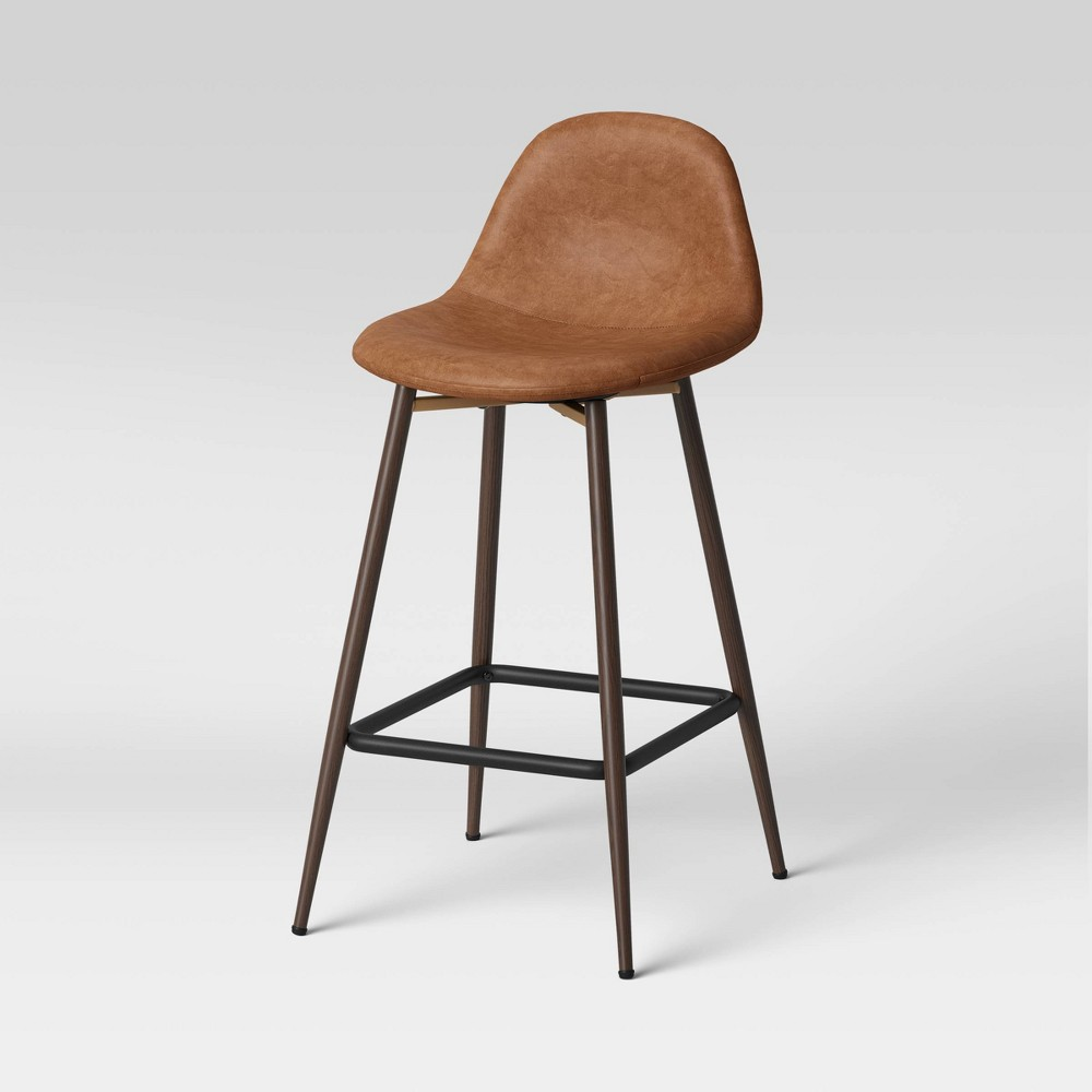 Copley Upholstered Counter Height Barstool With Faux Leather Caramel Project 62 8482