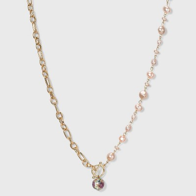 Chain Link and Simulated Pearl with Floral Bead Pendant Necklace - A New Day™