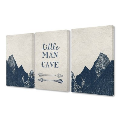 3pc 16 X1 5 X20 Little Man Cave Arrows And Mountains Stretched Canvas Art Set Stupell Industries Target