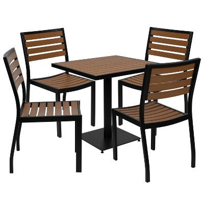 Flash Furniture Outdoor Patio Bistro Dining Table Set with 4 Chairs and Faux Teak Poly Slats