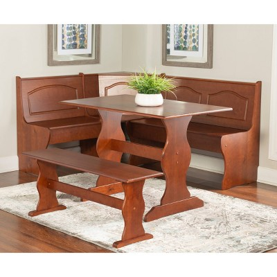 Chelsea Nook Dining Table Set Walnut - Linon