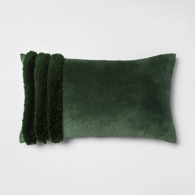 Velvet Fringed Oversize Lumbar Throw Pillow Green - Opalhouse™
