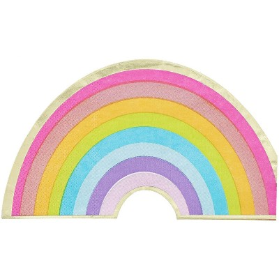 Blue Panda 50-Pack Rainbow Disposable Paper Napkins with Gold Foil Party Supplies 6.5 x 3.75 In