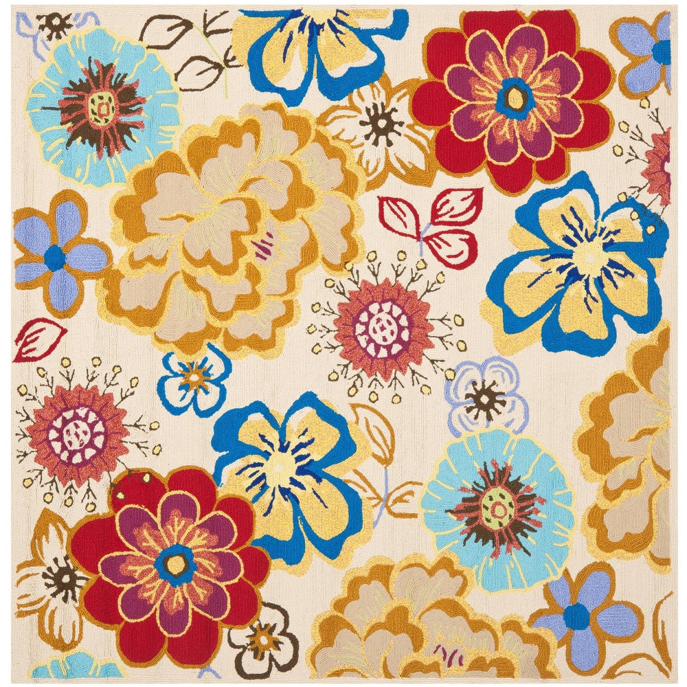6 X6 Floral Square Area Rug Ivory Safavieh