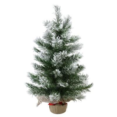 "Northlight 22"" Flocked Pine Full Artificial Christmas Tree in Burlap Base - Unlit"