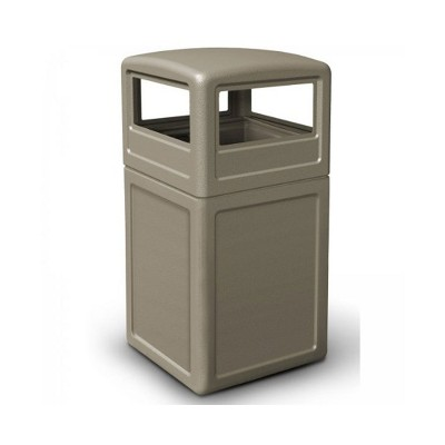 Commercial Zone 73290299 Dome Lid Indoor Outdoor Square 42 Gallon Heavy Duty Easy Cleaning Large Waste Trash Container Garbage Bin, Beige
