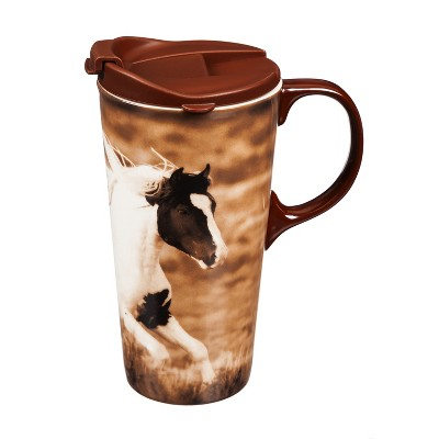 Cypress Home Running Stallion Ceramic Travel Coffee Mug, 17 ounces