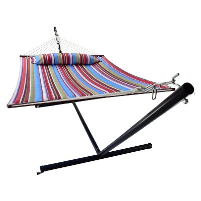 Hammock with Spreader Bars and Detachable Pillow Blue/Red - Sorbus