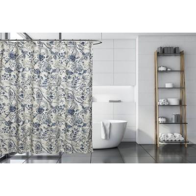 Georgian Shower Curtain Blue/Brown - Moda at Home
