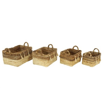 4pk Large Rectangle Banana Leaf  Baskets with Wood Beads & Tassels Brown & Beige
