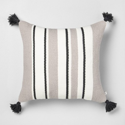 18x18 Stripe Square Pillow Gray - Hearth & Hand™ with Magnolia