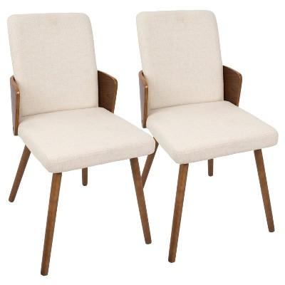 Carmella Mid Century Modern Dining Chair (Set of 2)- Walnut/Cream - Lumisource