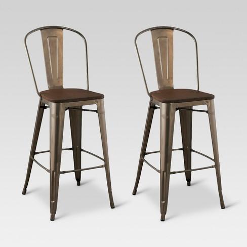 29 Carlisle Barstool With Wood Seat Silver Set Of 2 Threshold