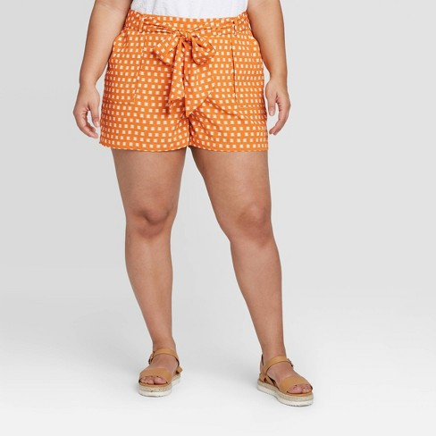 Women's Plus Size Plaid Mid-Rise Tie Waist Pull-On Shorts - A New Day™ Gold - image 1 of 3