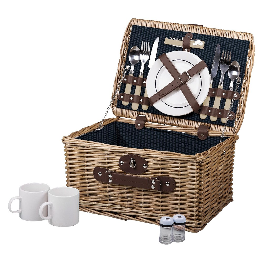 Image of Picnic Time Catalina Wine and Cheese Basket - Dahlia Collection, Blue