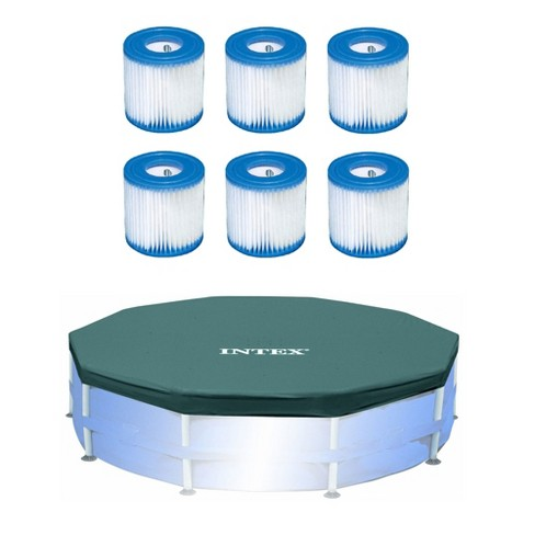 Intex Pool Filter (6 Pack) with Intex 10-Foot Round Above Ground Pool Cover - image 1 of 4