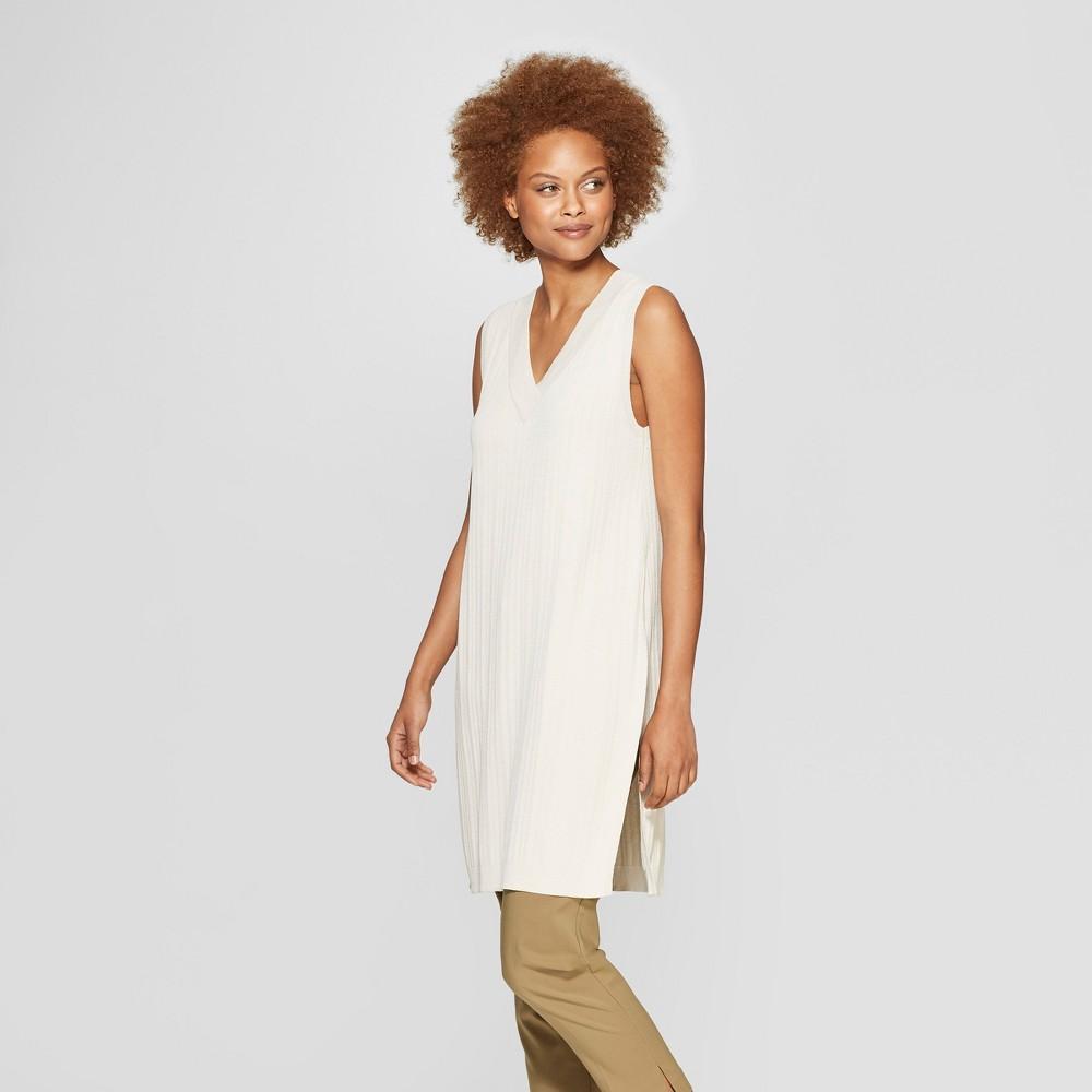 Women's Sleeveless V-Neck Pullover Sweater - Prologue Cream (Ivory) XL