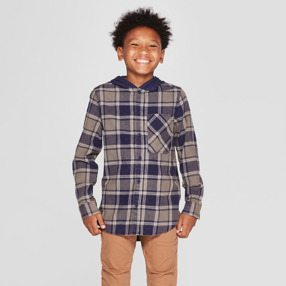 Boys' Long Sleeve Plaid Flannel Button-Down Shirt - art class Gray M