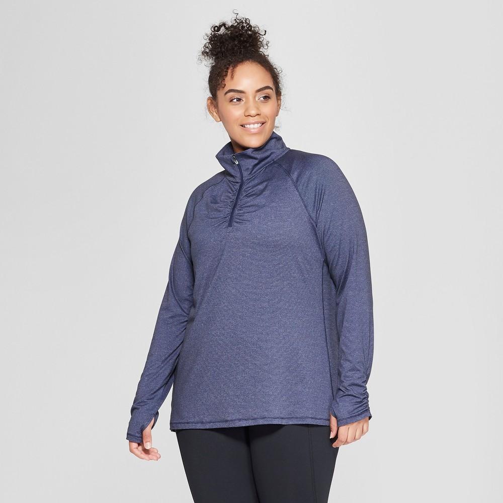 Women's Plus Size Long Sleeve 1/2 Zip - C9 Champion Blue Heather Dash 1X