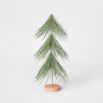 15in Unlit Tinsel Christmas Tree Decorative Figurine Green - Wondershop™