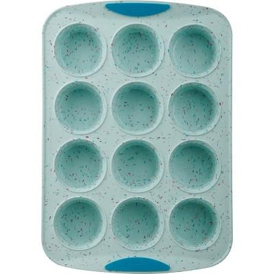 Trudeau Silicone 12ct Muffin Pan Blue Confetti