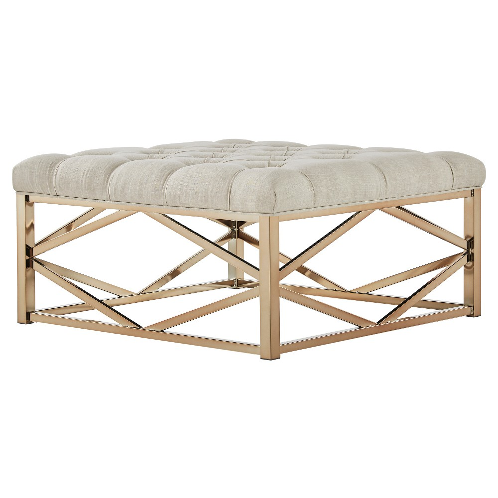Fontaine Champagne Button Tufted Geometric Cocktail Ottoman Oatmeal - Inspire Q