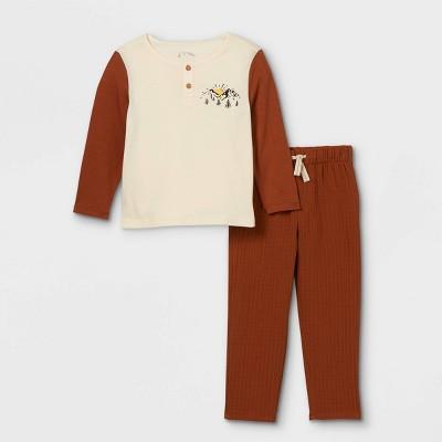 Toddler Boys' 2pc 'Mountain' Henley Long Sleeve T-Shirt & Pants Set - art class™ Dark Red 12M