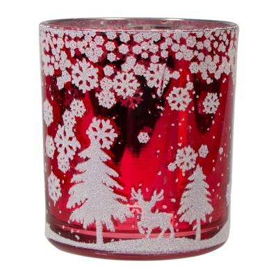 """Northlight 3"""" Red and Shiny Silver Deer in Winter Woods Flameless Glass Candle Holder"""