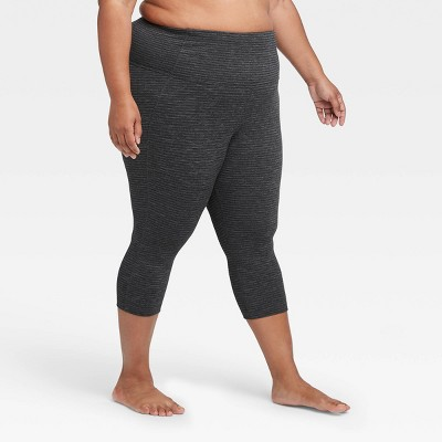 "Women's Plus Size Contour Power Waist High-Waisted Textured Capri Leggings 19"" - All in Motion™ Black 4X"