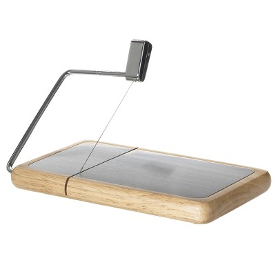Wood and Metal Cheese Tray with Slicer