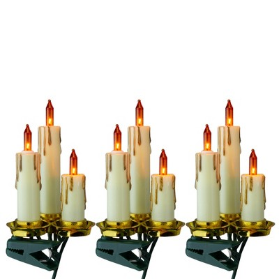 Kurt S. Adler 15-Count Amber and Gold Dripping Candle Clip-On Christmas Light Set, 3.75ft Green Wire