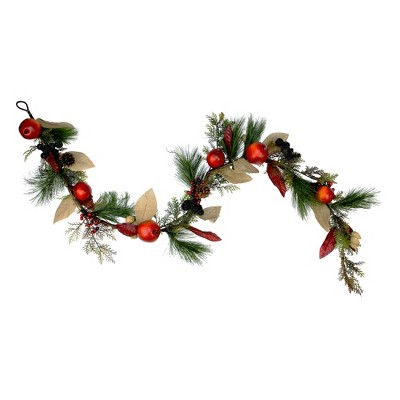 "Northlight 6' x 10"" Red Mixed Berry and Pine Artificial Garland - Unlit"