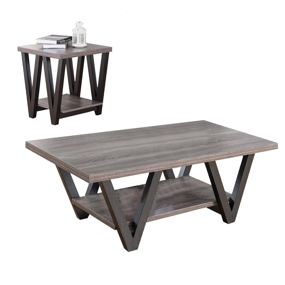 Coffee & End Table Flat Gray - Benzara