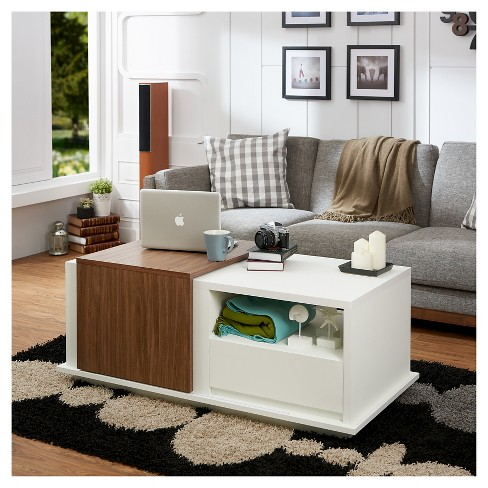 Carmine Modern 2 Tone Slide Top Storage Coffee Table Furniture Of