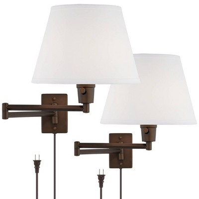 360 Lighting Industrial Swing Arm Wall Lamps Set of 2 Oil Rubbed Bronze Plug-In Light Fixture White Linen Shade Bedroom Bedside