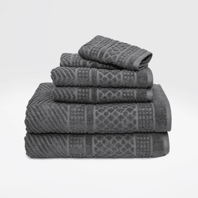 6pc Apothecary Bath Towel Set Gray - LOFT by Loftex